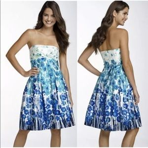 Calvin Klein Blue White Floral Strapless Dress sz4